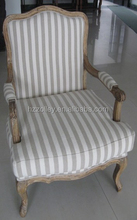 comfortable hotel lobby leisure chair with linen fabric cover/office executive stripe fabric oak wood chair