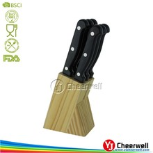 6pcs stainless steel serrated steak knife with Wooden Block