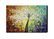 Cheap 100% Hand-painted modern home decor wall art picture Colorful tree-white flower thick palette knife oil painting on canvas