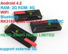 Correo aéreo de HK envío gratis, Lo nuevo Android 4.2 mini pc RK3188 Quad core 2 G RAM 8 G ROM bluetooth wifi HDMI tv dongle MK809C