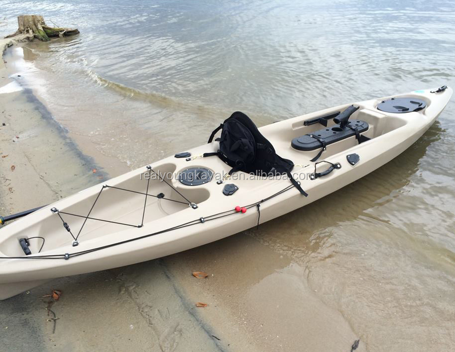 plasitc fishing pedal kayak with pedals and rudder system