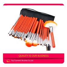 25 pcs 2012 best professional makeup brushes with orange color