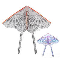 2015 New Arrival Children Pattern 80*48cm DIY Fly Kite Hand Drawing Butterfly Kites For Kids