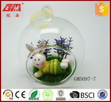hot sell clear glass ball with rabbit and lawn inside