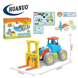 53 pcs educacional conjunto de empilhadeira caminhão de brinquedo carro logotipo personalizado para crianças montagem