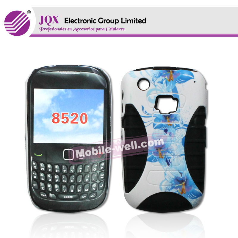 2 en1 Funda de tpu gel Silicona Carcasas Cover Case Para blackberry 8520