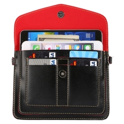6.3 Inch Universal Fashionable Vertical Four Layers Multi-function Leather Shoulder Bag with Card Slots for iPhone 6 Plus