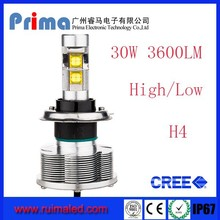 Prima Super Bright 30W 3600LM High/low beam H4 Car Led Headlight, H4 H/L Led Headlight