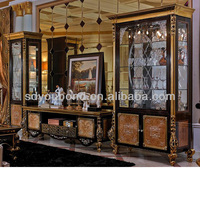 0061 High quality solid wooden carving Italy luxury solid wood golden furniture