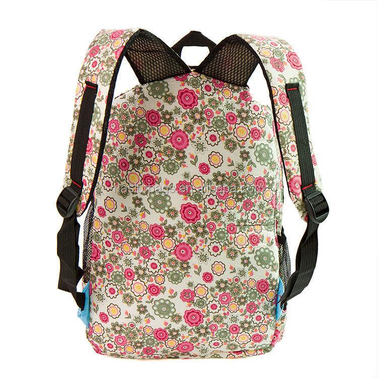 2015 nouveau design belle fleur allover impression sac à dos pour school girls