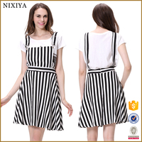 Black and white vertical strips fashion dress women strap dress