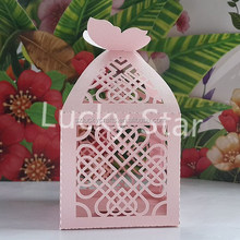 Pink Chinese knot Laser Cut pearl paper wedding candy box chocolate favour box baby shower gift box christmas new born gift