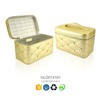 Trade assurance 2015 good quality ivory PU leather cosmetic box sewing with diamond
