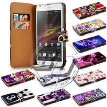 wholesale alibaba new wallet printed pu leather flip case case for sony xperia sp m35h c5302 c5303 c5306