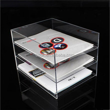 Clear modern design three tiers acrylic bookcase