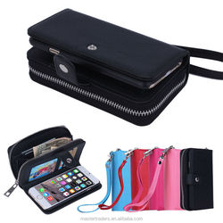 Cheap Zipper Wallet Phone Bag PU Leather Case With Multi Card Slot For Iphone 6 4.7 MT-3668