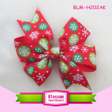 Hot sales Christmas red baby hair bows clip grosgrain hair bows clip for baby