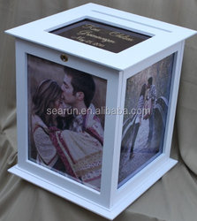 Elegent and Modern White Wedding Card Box Wooden Card Box