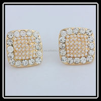Charming Small Design Clear Crystal Square Lady Earrings Stud With Pearl JHJ0092