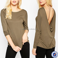t shirt wholesale china 100% viscose long sleeve low scoop back plain t shirt for women