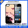 3D image mobile phone accessory PC case for iphone 5 with 3D girl with moving butterfly