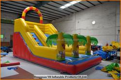 fire retardant PVC tarpaulin inflatable jungle slide with blower