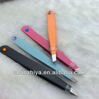 Stainless Cutting Eyebrow Tweezer With Diamond Forceps Eyebrow Mini Tweezers