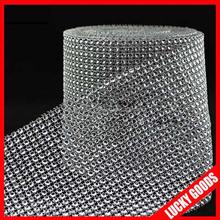 24rows silver diamond mesh wrap roll rhinestone mesh ribbon for sale