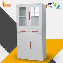 High quality Glass Door Metal Display Cabinets Commercial Furniture with 2 drawers