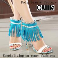 2015 wholesale sandals sex lady tassel lace summer shoes women top quality stiletto heel sandals ! PY3797