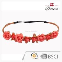 Classic Design Xmas Lovely Rose Flower Girls Headband Handmade Ribbon Fabric