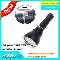 Hot selling Jexree 4100 lumen XHP70 underwater torch 26650 battery diving torch light spearfishing diving lamp