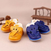 TSW5404 Latest kids shoes korean infant shoe cute elephant soft sole baby boy winter shoes