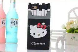 3D Hello Kitty Cigarette Pack Silicone Mobile Phone Case for iphone 4 5/5s,6/ 6 Plus