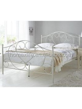 New style simple bedroom furnitur white double iron bed