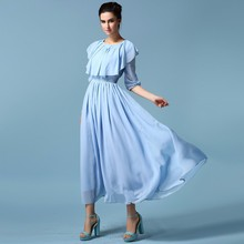 WS782 One Piece Girls Party Dresses Clothing Factories in China Alibaba Dresses Half Sleeve Maxi Chiffon Women Dresses