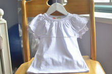 Korea children girl's T shirt,ruffled collar designs 2014 Summer