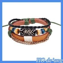 2015 Sided rotating fish bone shape beaded bangle primitive tribes style leather bracelets MHo-052
