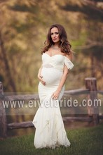 S574 Sweetheart Off-shoulder Beading A-Line Floor-length Chiffon Pictures of Wedding Dresses for Pregnant Women