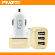 PNGXE Wholesale Fast Charge 12V Universal Portable 3 Port USB Car Charger For Cell Phone