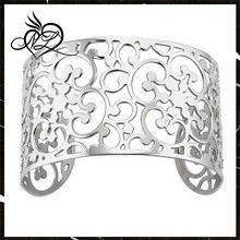 Swirl Cut Out Cuff Bangle Bracelet in Stainless Steel