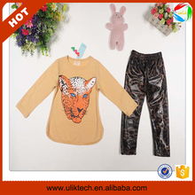 Autumn clothing children cheap free shipping girls leopard print clothes set (Ulik-A0399)