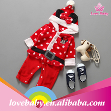Wholesale soft white spotted red sleep wear for kids for christmas festival with cat and bow hoodies