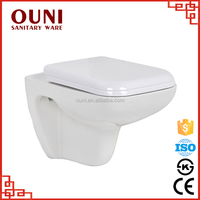 ON-714 Hot sale plain white bathroom one piece wall mounted sanitary toilet blue