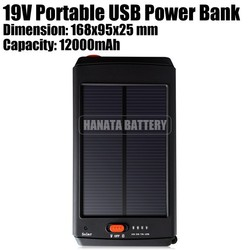 19V Portable USB Power Bank 12000mAh Emergency Solar Charger for Laptop /Samsung /LG /HTC /MP3 /MP4 Made in China