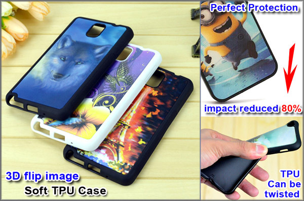 Newest fashion 3D TPU phone case silicone phone case TPU case with 3D flip pattern