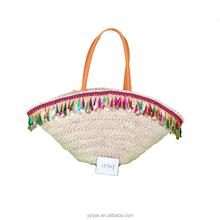 Colorful tassels corn husk straw bag,natural bag