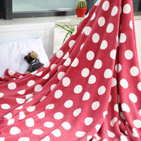 2014 new style dot printed coral fleece blanket can be customized