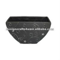 hand carved black square ceramic flower pots