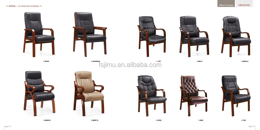 Luxury solid wood meeting room chair / PU leather office chair without ...